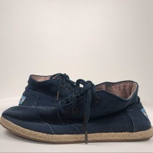Toms Blue Lace-Up Canvas Booties